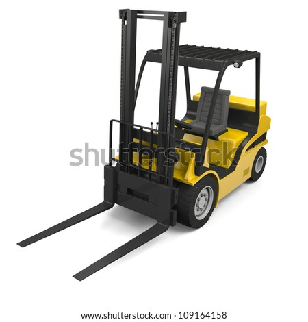 3D illustration of modern yellow forklift truck isolated on white background