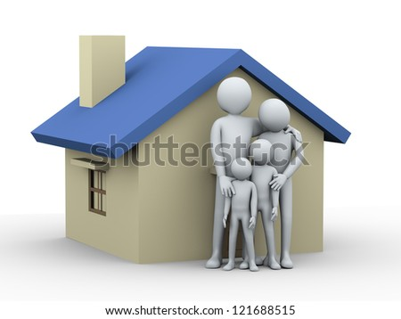 3d illustration of mother and father with their children in front of house.  3d rendering of people - human character and family love concept.