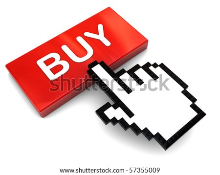 3d illustration of mouse cursor and red button with 'buy' caption