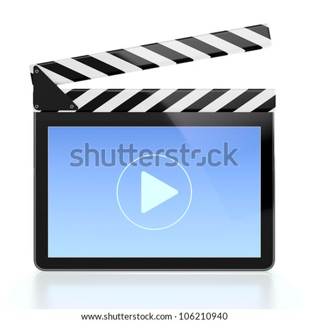 3D illustration of movie player icon in form of computer screen