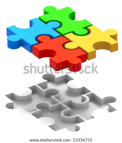 3D Illustration of multi colored puzzle pieces joined over their hollow spots, isolated in white background