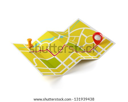 3d illustration of navigation map with guide line. Isolated on white background