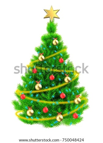 3d illustration of neon green Christmas tree with blue stars over white background - Shutterstock ID 750048424