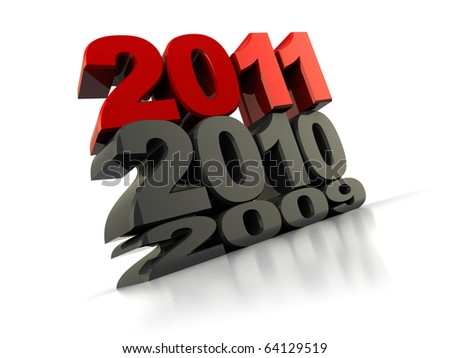3d illustration of new year sign over white background, with reflection