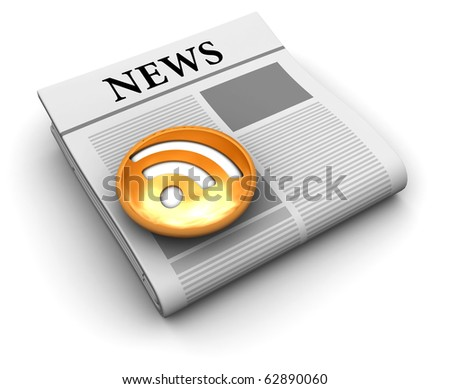 3d illustration of news feed symbol or icon, over white background