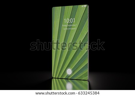 3D illustration of next generation smartphone render with bezel less / bezel free touch screen standing upright on black background
