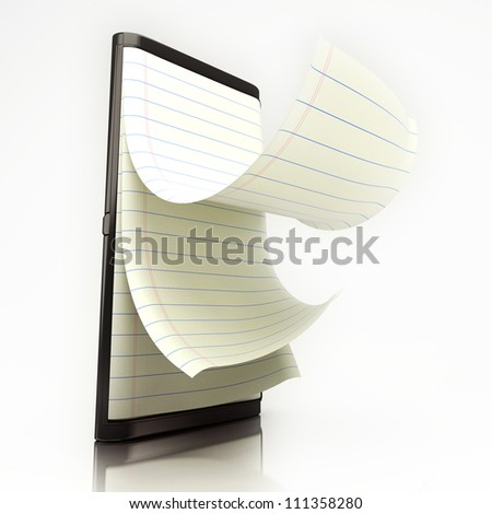3d illustration of notepad in mobile screen showing e-learning