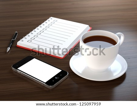 3D illustration of office desk with coffee, mobile phone, notebook and pen