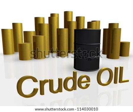 3d illustration of oil barrel against pile of gold coins
