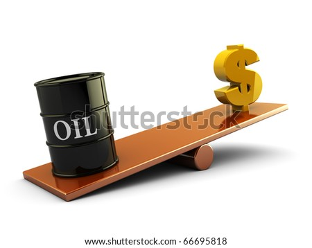 3d illustration of oil barrel and money sign on scale board
