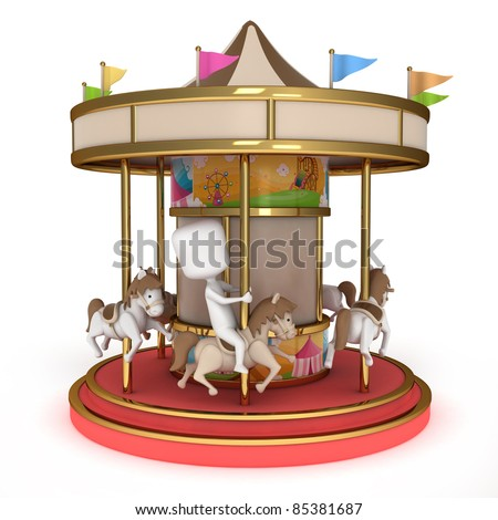 3D Illustration of one Man Riding a Carousel