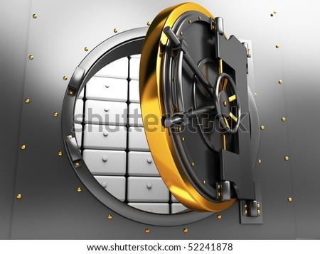 3d illustration of opened bank vault door