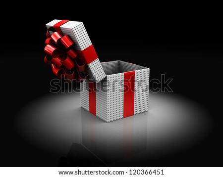 3d illustration of opened christmas present box, over dark background
