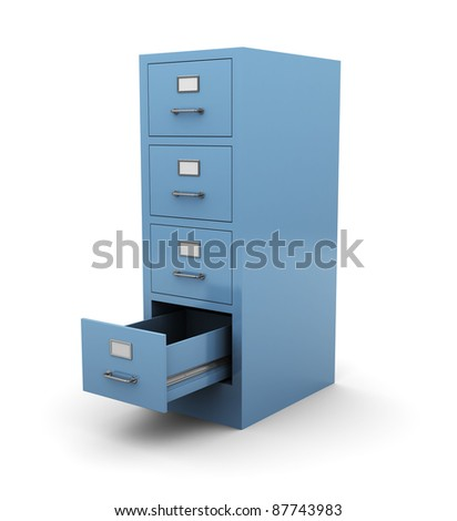 3d illustration of opened drawer over white background