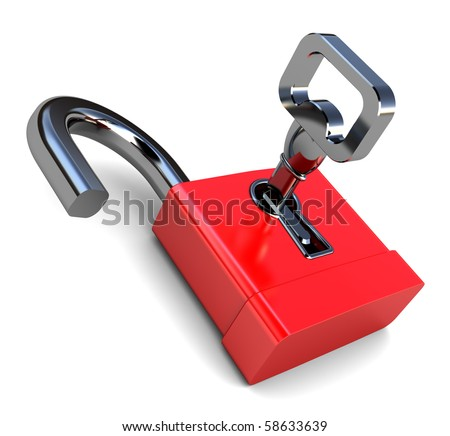 3d illustration of opened lock with key, over white background