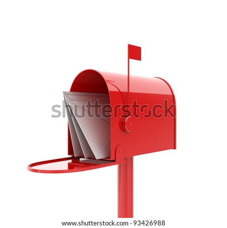 3d illustration of opened red mailbox with letters