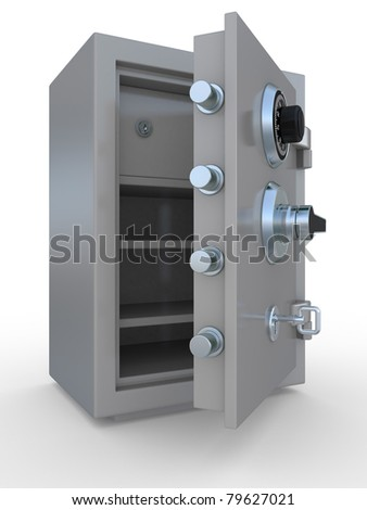 3d illustration of opened steel bank safe over white background