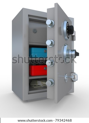 3d illustration of opened steel bank safe with money and documents