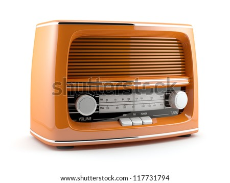 3d illustration of orange retro radio. Isolated on white background