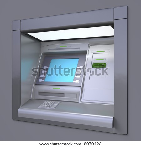 3D illustration of outdoor ATM machine. Image include several clipping paths for easily extraction background, screen etc.