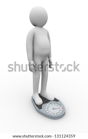 3d illustration of overweight person with weight scale. 3d rendering of people - human character