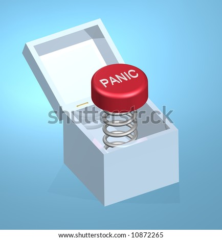 3D illustration of panic button on coil spring inside of a white box with a lid that opens. Panic button is red with raised white letters.