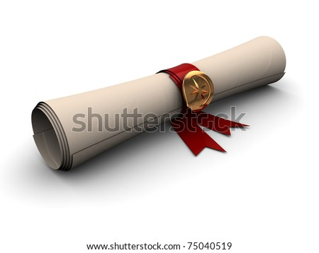 3d illustration of paper scroll with golden seal and red ribbon