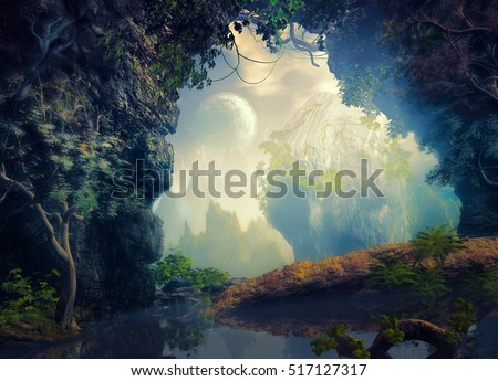 3D illustration of part of a cave with a small lake and vegetation from which one has a view of a landscape with a large rock to the center and mountains in a very cloudy atmosphere #517127317