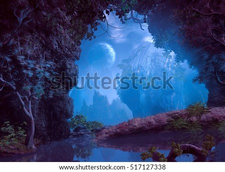 3D illustration of part of a cave with a small lake and vegetation from which one has a view of a landscape with a large rock to the center and mountains in a very cloudy atmosphere #517127338