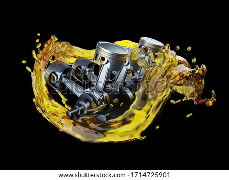 3D illustration of parts in car engine with lubricant oil on repairing ストックフォト ©