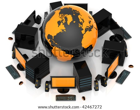 3D illustration of PC computer systems surrounding a globe