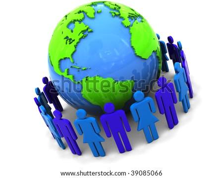 3d illustration of people around earth globe