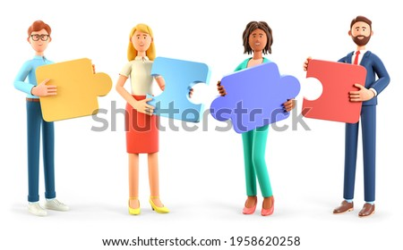 3D illustration of people connecting together puzzle elements. Business teamwork and collaboration, partnership, cooperation and development concept. Multicultural team, unity in diversity.