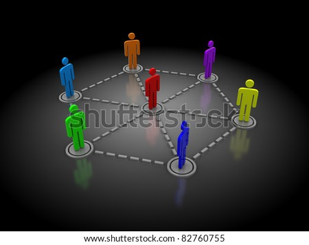 3d illustration of people network over dark background