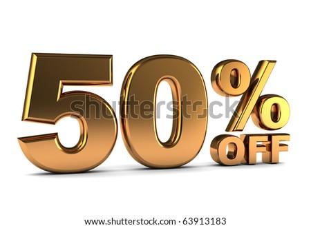 3d illustration of 50 percent discount sign, golden color