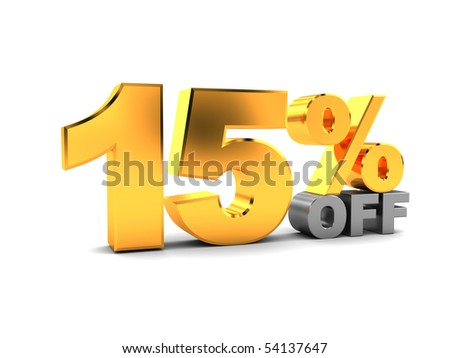 3d illustration of 15 percent discount sign, over white background