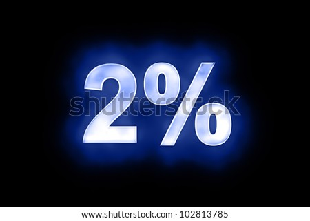 3d illustration of 2 percent in glowing mottled white numerals on a blue background with a black surround