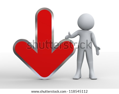 3d illustration of person and red download arrow. 3d rendering of human character