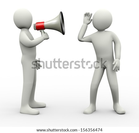 3d Illustration Of Person Announcing Through Megaphone And