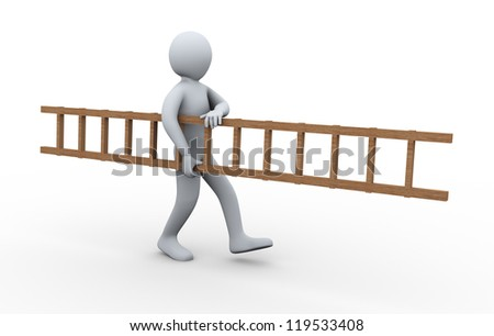 3d illustration of person carrying ladder.  3d rendering of human character.