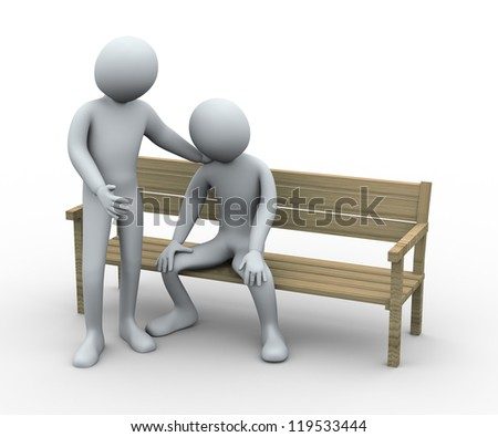 3d illustration of person give sympathy to his frustrated and sad friend.  3d rendering of human character.