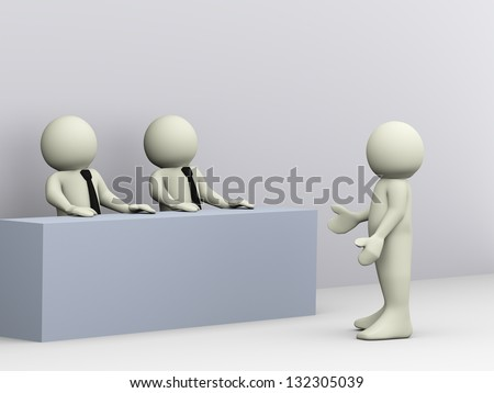 3d illustration of person giving job interview. 3d rendering of human character