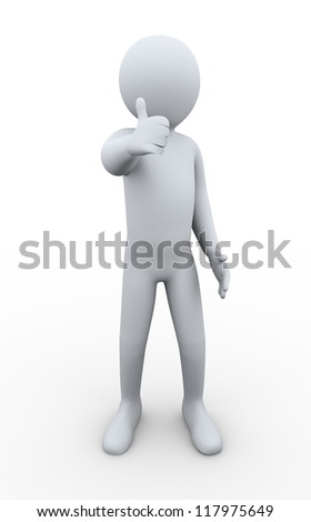 3d illustration of person giving thumbs up. 3d rendering of human character.
