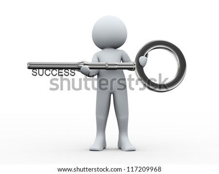 3d illustration of person holding key with word success. 3d rendering of human character.