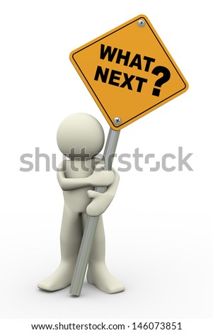 3d illustration of person holding road sign of what next. 3d rendering of people human character.
