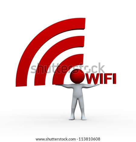 3d illustration of person holding wifi icon and word.  3d rendering of human character.