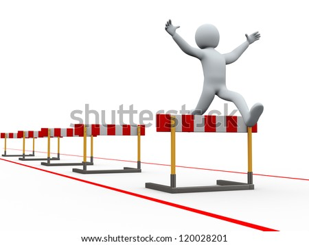 3d illustration of person jumping over track of hurdle obstacle. 3d rendering of people - human character.