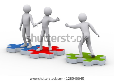 3d illustration of person on puzzle piece joining group of people. 3d rendering of people - human character.
