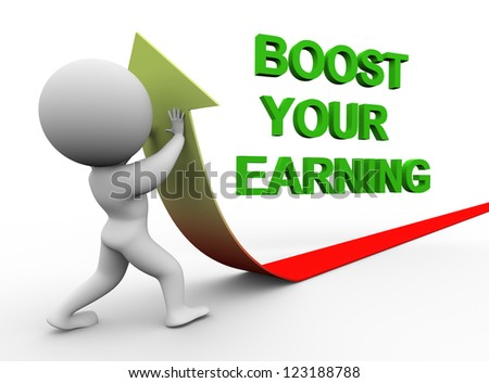 3d illustration of person pushing arrow upward representing conept of boosting earning.