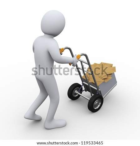 3d illustration of person pushing hand truck with box full of envelopes. 3d rendering of human character